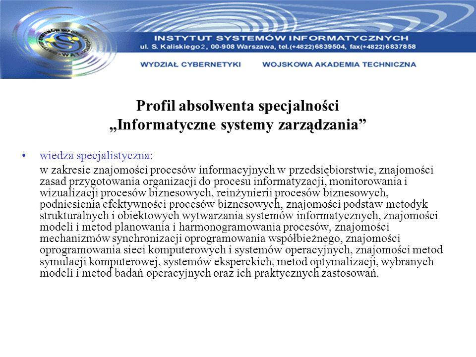 """Profil absolwenta specjalności """"Informatyczne systemy zarządzania"""
