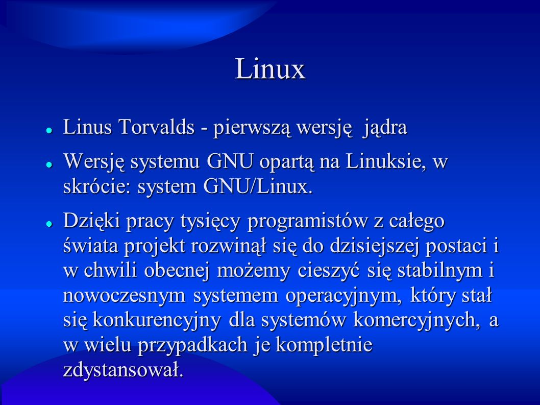 Linux Linus Torvalds - pierwszą wersję jądra