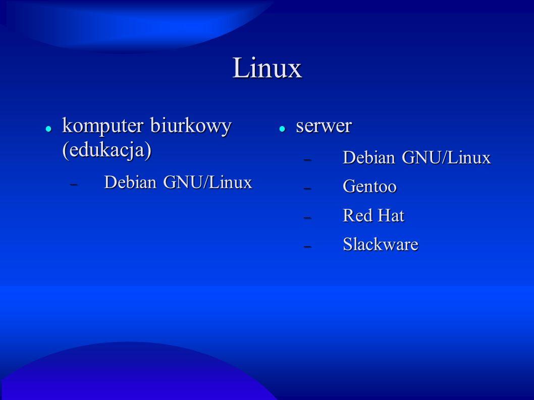 Linux komputer biurkowy (edukacja) serwer Debian GNU/Linux