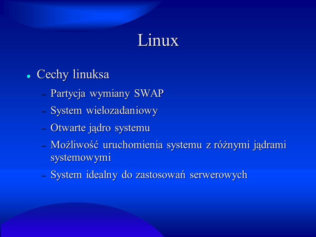 Linux Cechy linuksa Partycja wymiany SWAP System wielozadaniowy