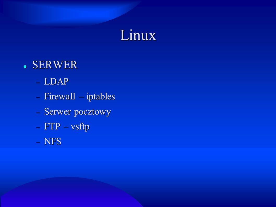 Linux SERWER LDAP Firewall – iptables Serwer pocztowy FTP – vsftp NFS