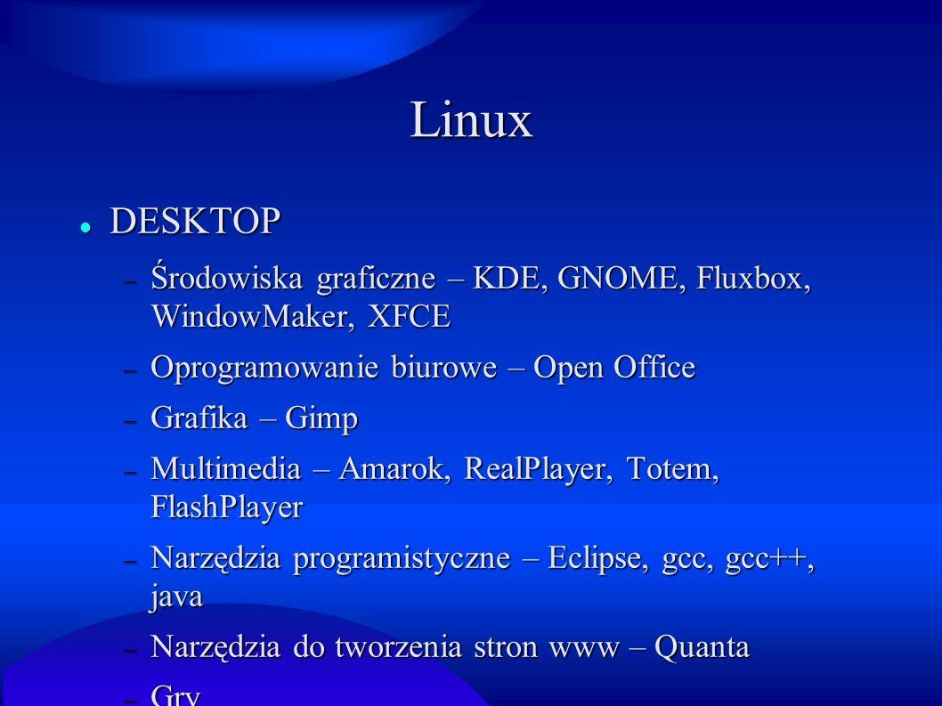 Linux DESKTOP. Środowiska graficzne – KDE, GNOME, Fluxbox, WindowMaker, XFCE. Oprogramowanie biurowe – Open Office.