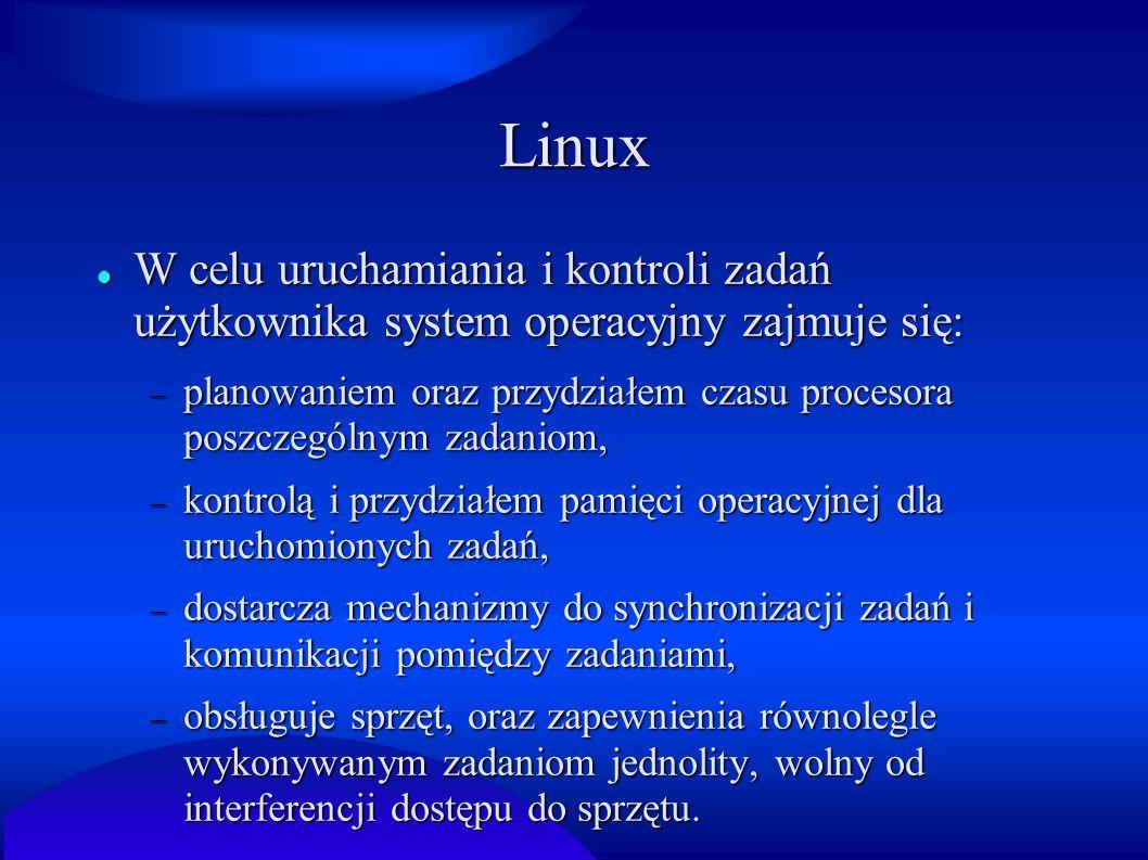 Linux W celu uruchamiania i kontroli zadań użytkownika system operacyjny zajmuje się: