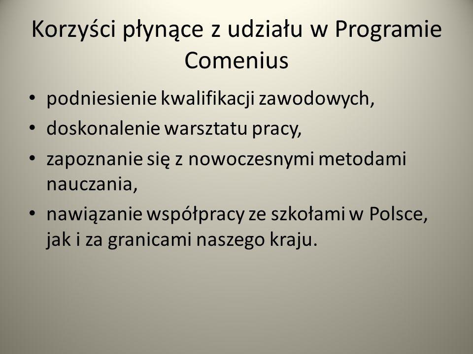 Korzyści płynące z udziału w Programie Comenius