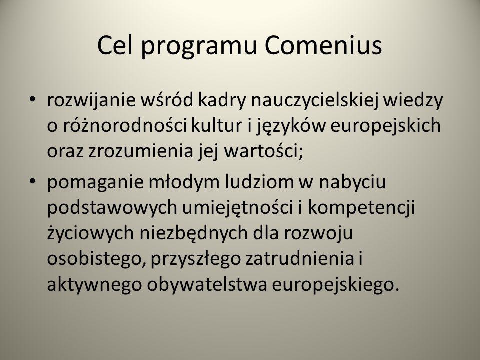 Cel programu Comenius rozwijanie wśród kadry nauczycielskiej wiedzy o różnorodności kultur i języków europejskich oraz zrozumienia jej wartości;