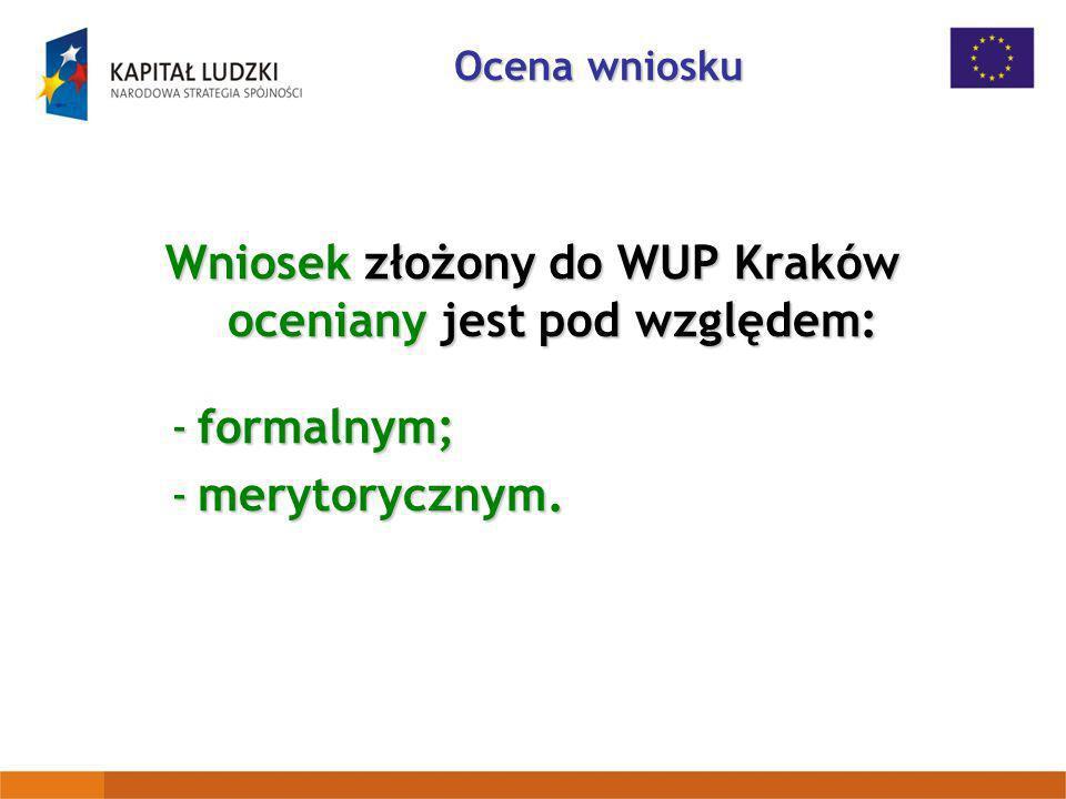 Wniosek złożony do WUP Kraków oceniany jest pod względem: