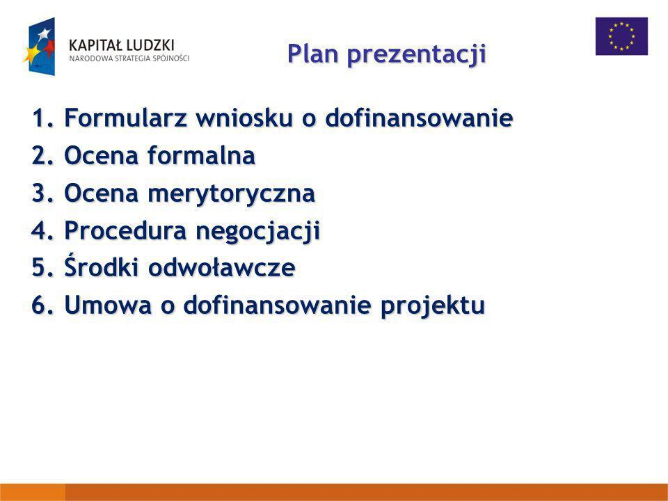Plan prezentacji Formularz wniosku o dofinansowanie. Ocena formalna. Ocena merytoryczna. Procedura negocjacji.