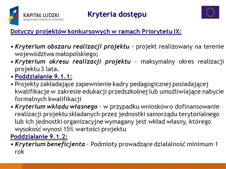 Kryteria dostępu Dotyczy projektów konkursowych w ramach Priorytetu IX: