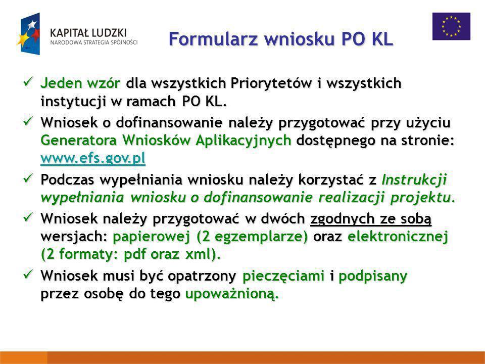 Formularz wniosku PO KL
