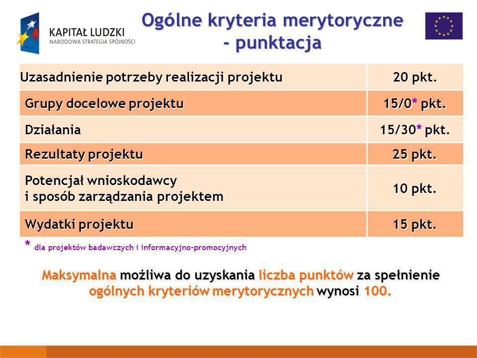 Ogólne kryteria merytoryczne - punktacja