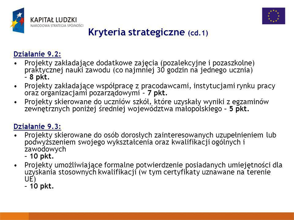 Kryteria strategiczne (cd.1)