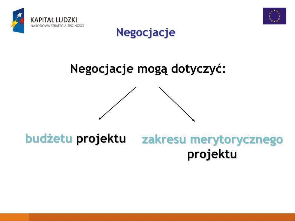 Negocjacje mogą dotyczyć: zakresu merytorycznego projektu