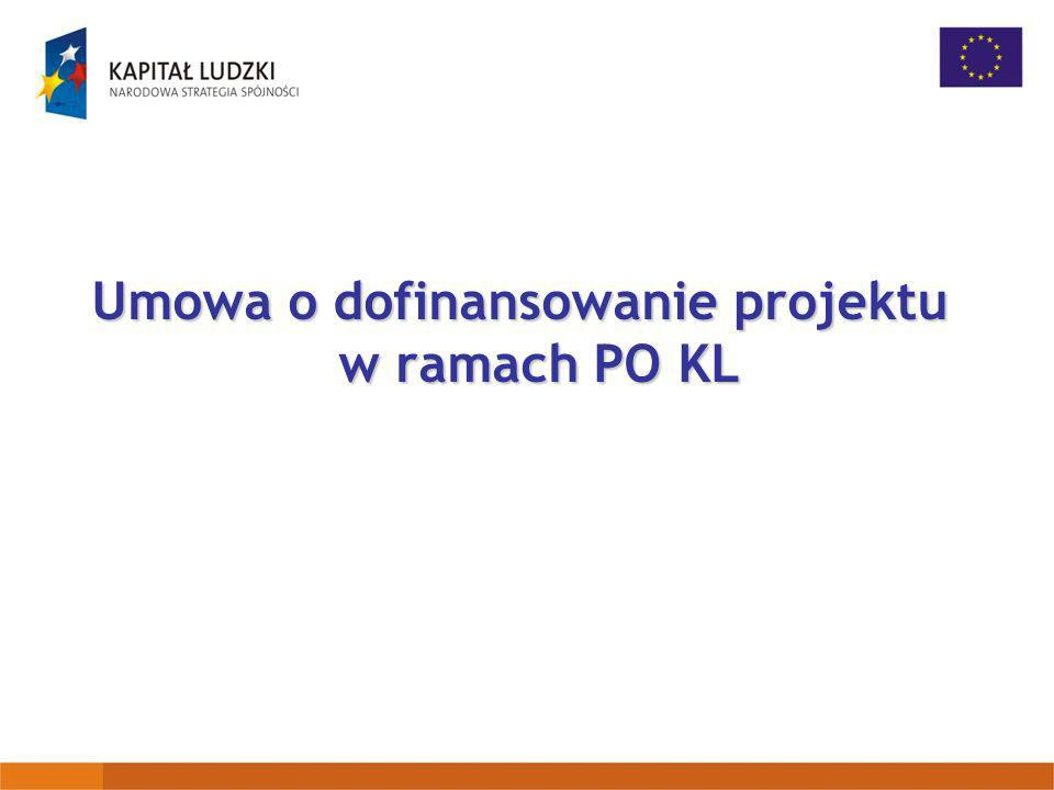 Umowa o dofinansowanie projektu w ramach PO KL