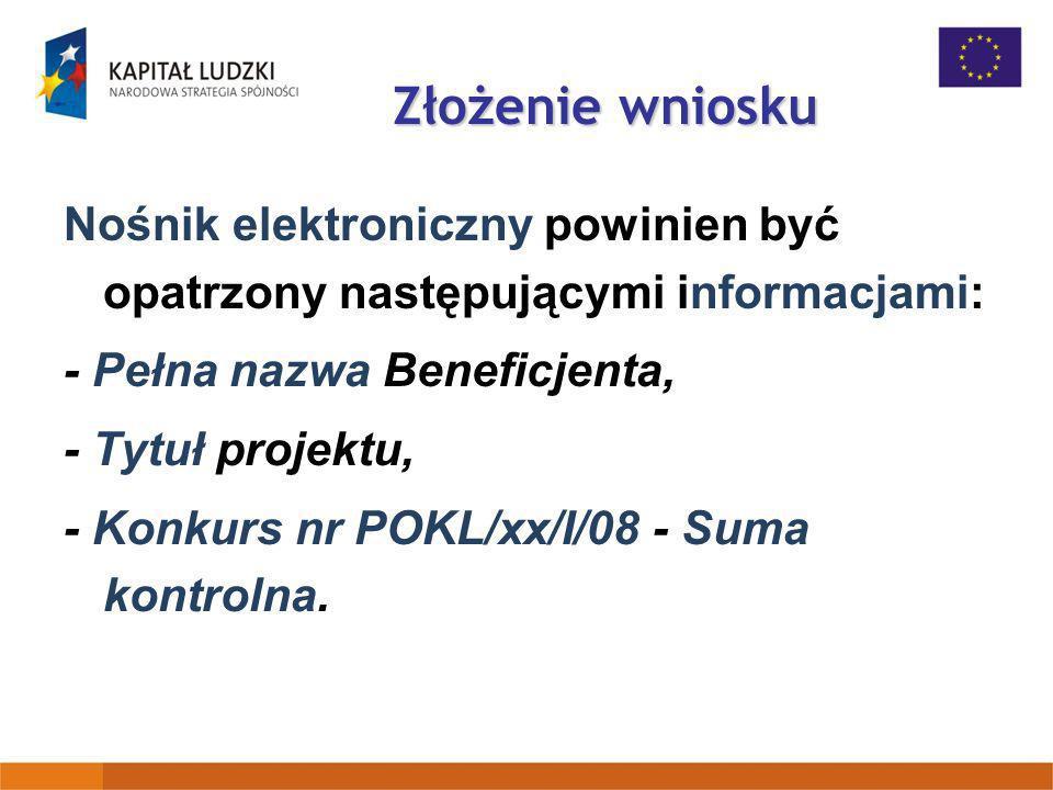 Złożenie wniosku Nośnik elektroniczny powinien być opatrzony następującymi informacjami: - Pełna nazwa Beneficjenta,