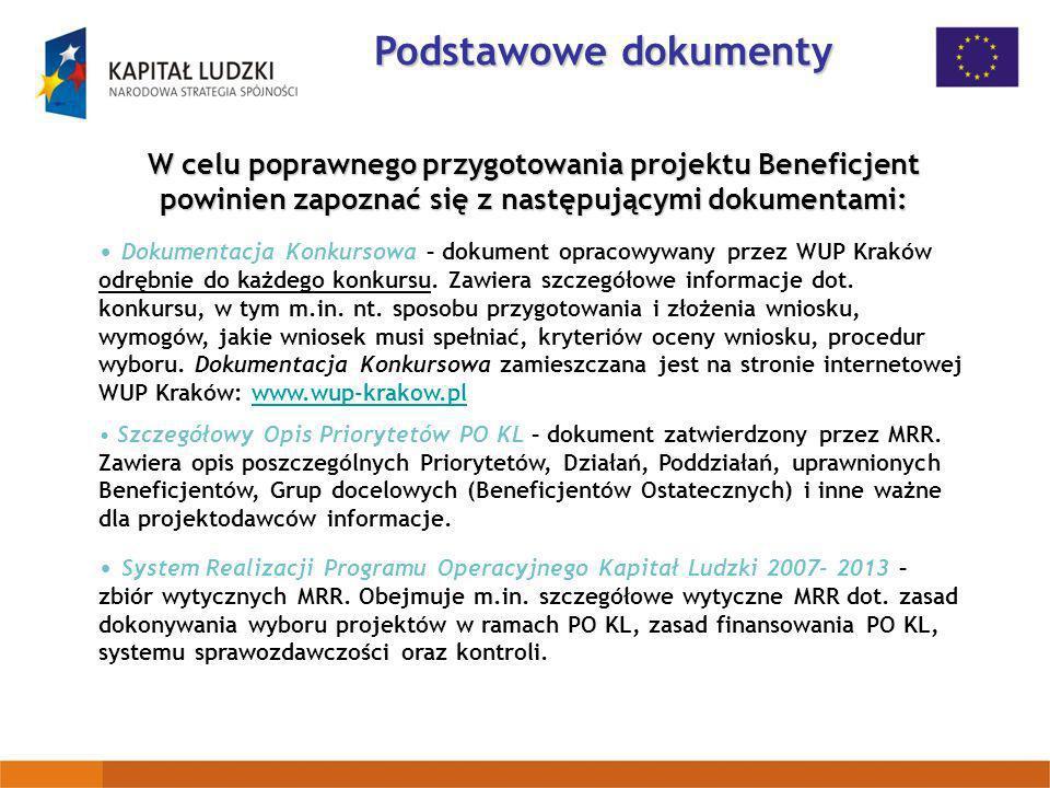 Podstawowe dokumenty W celu poprawnego przygotowania projektu Beneficjent powinien zapoznać się z następującymi dokumentami: