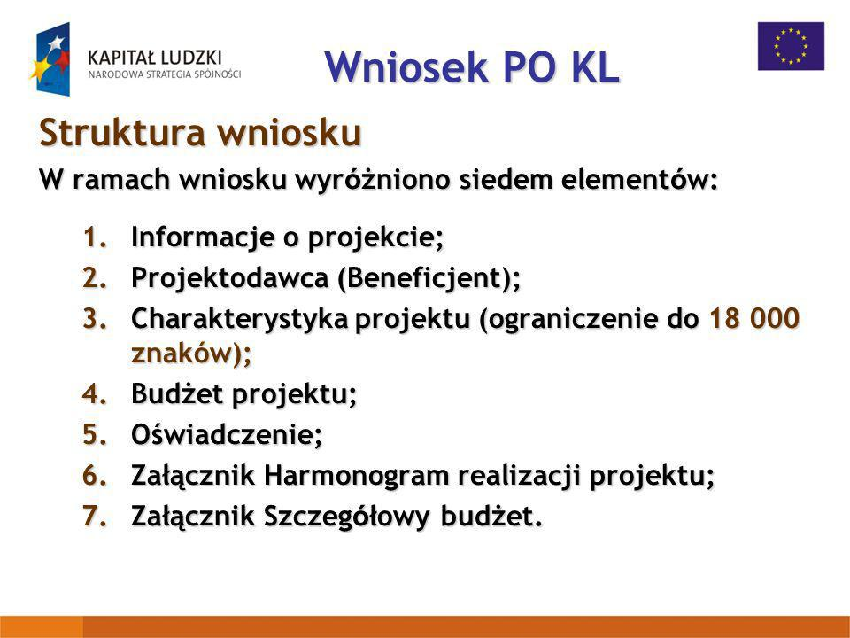 Wniosek PO KL Struktura wniosku
