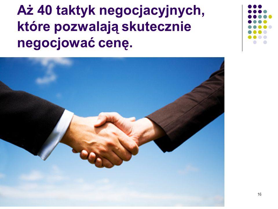 Aż 40 taktyk negocjacyjnych, które pozwalają skutecznie negocjować cenę.