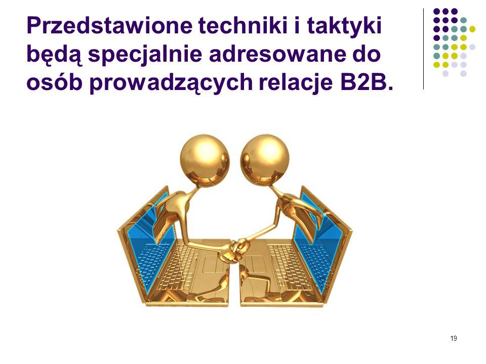 Przedstawione techniki i taktyki będą specjalnie adresowane do osób prowadzących relacje B2B.