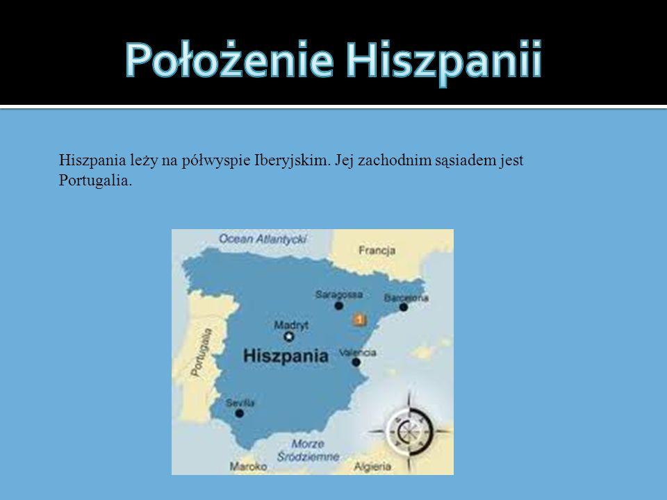 Położenie Hiszpanii Hiszpania leży na półwyspie Iberyjskim. Jej zachodnim sąsiadem jest Portugalia.