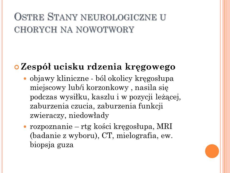 Ostre Stany neurologiczne u chorych na nowotwory