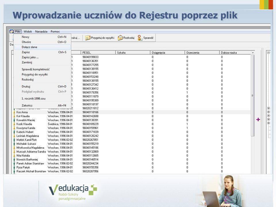 Wprowadzanie uczniów do Rejestru poprzez plik