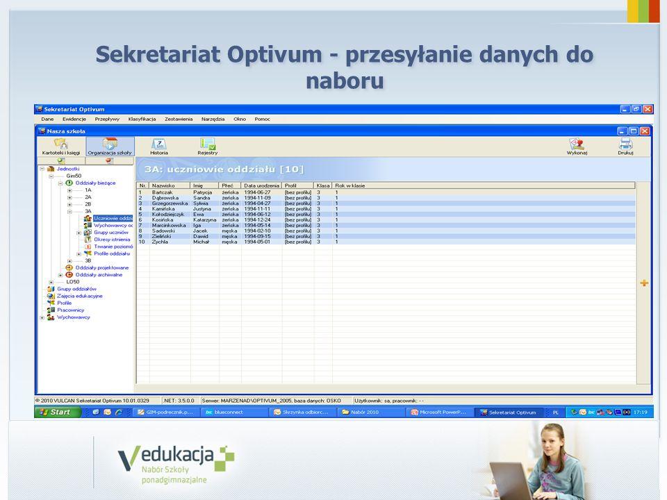 Sekretariat Optivum - przesyłanie danych do naboru