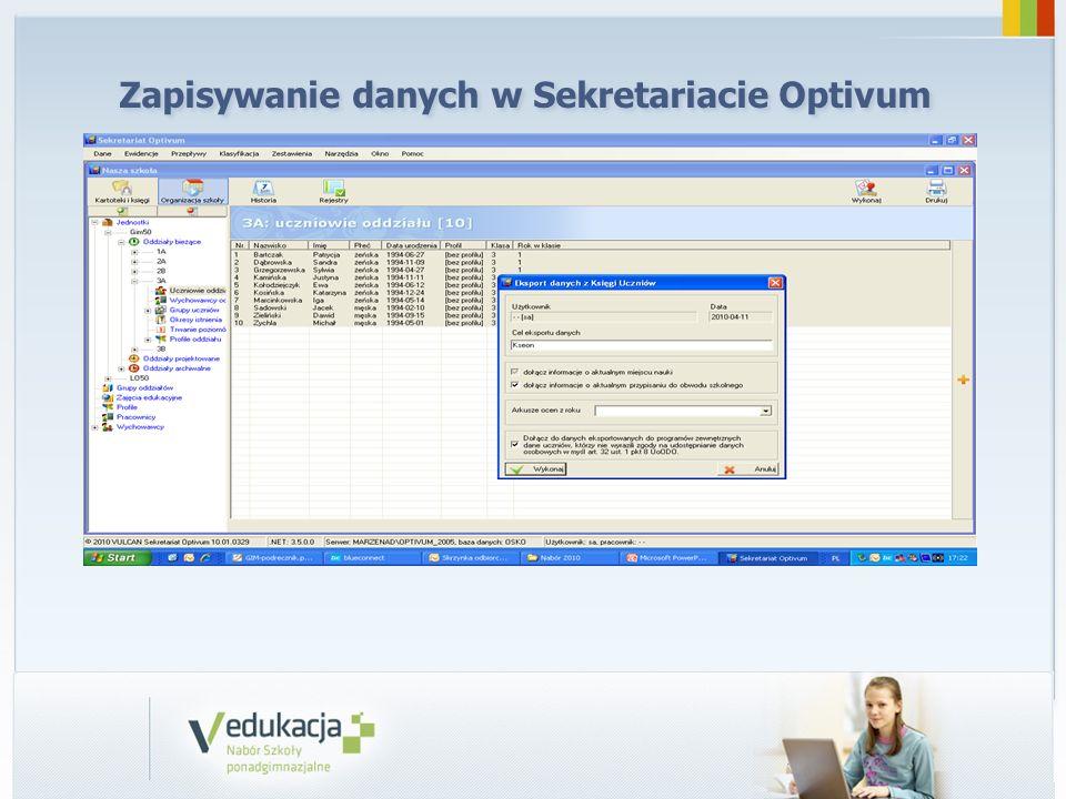 Zapisywanie danych w Sekretariacie Optivum