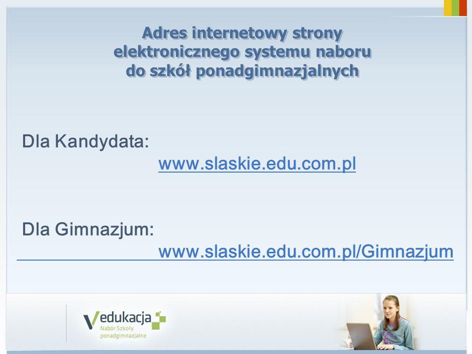 Dla Kandydata: www.slaskie.edu.com.pl Dla Gimnazjum: