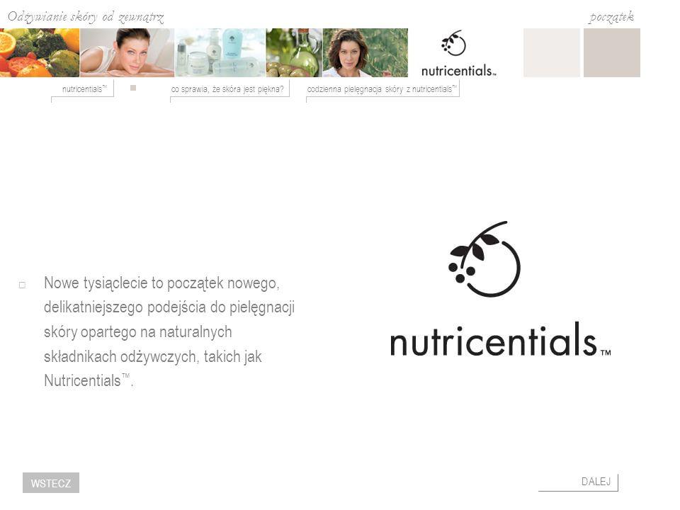 Nowe tysiąclecie to początek nowego, delikatniejszego podejścia do pielęgnacji skóry opartego na naturalnych składnikach odżywczych, takich jak Nutricentials™.