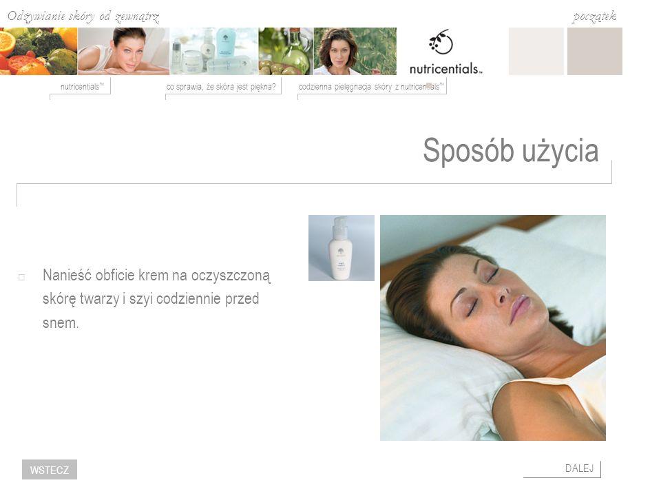 Sposób użycia Nanieść obficie krem na oczyszczoną skórę twarzy i szyi codziennie przed snem.