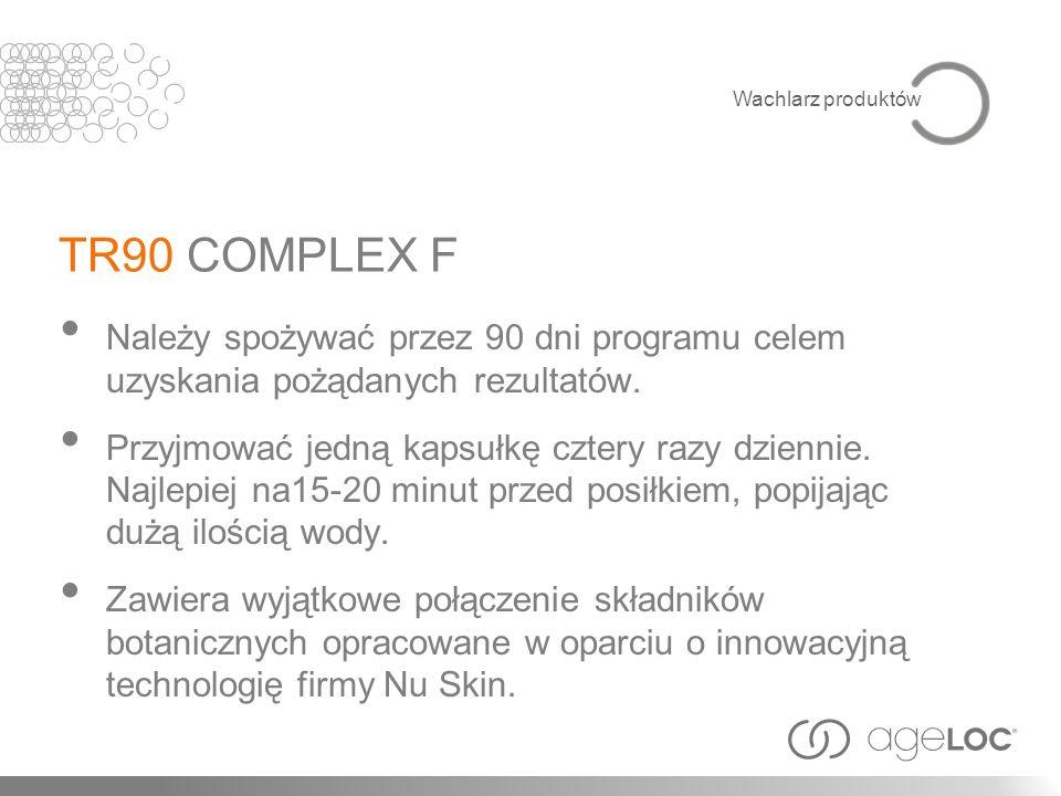 Wachlarz produktów TR90 COMPLEX F. Należy spożywać przez 90 dni programu celem uzyskania pożądanych rezultatów.