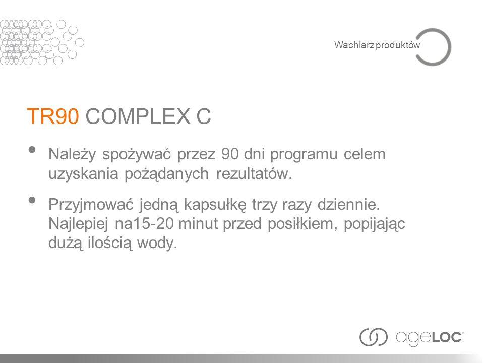 Wachlarz produktów TR90 COMPLEX C. Należy spożywać przez 90 dni programu celem uzyskania pożądanych rezultatów.
