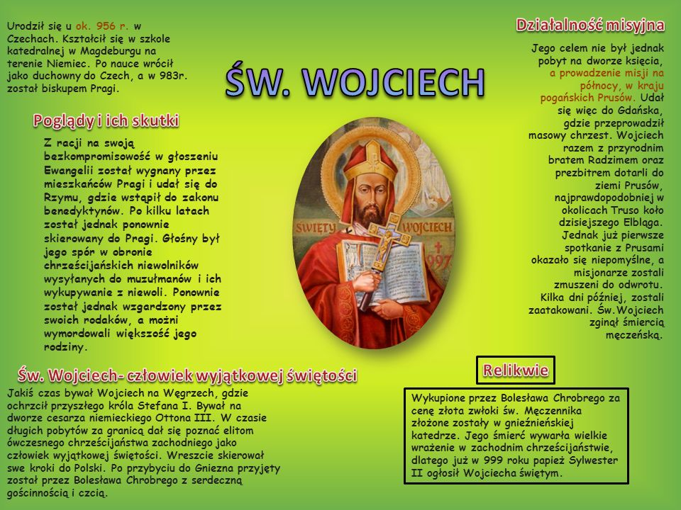 Św. Wojciech- człowiek wyjątkowej świętości