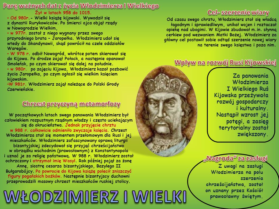 WŁODZIMIERZ I WIELKI Parę ważnych dat z życia Włodzimierza I Wielkiego