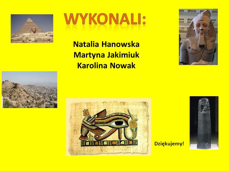Wykonali: Natalia Hanowska Martyna Jakimiuk Karolina Nowak Dziękujemy!