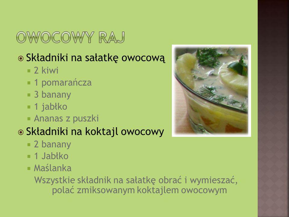 Owocowy raj Składniki na sałatkę owocową Składniki na koktajl owocowy