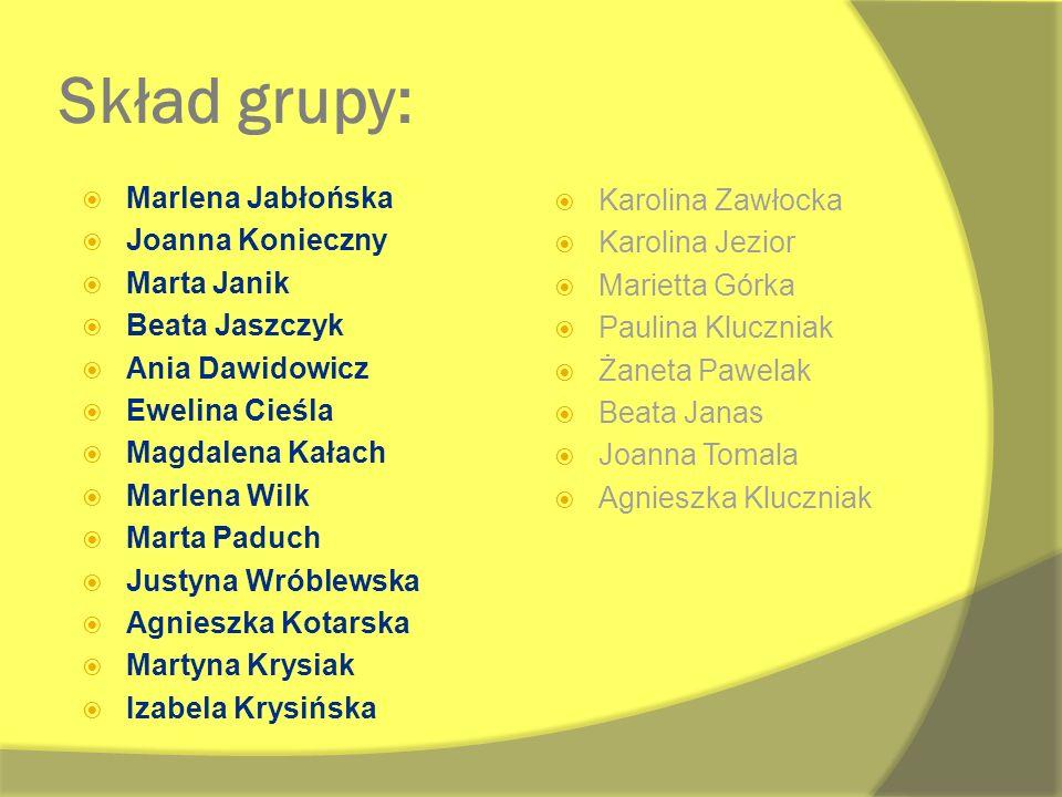 Skład grupy: Marlena Jabłońska Karolina Zawłocka Joanna Konieczny