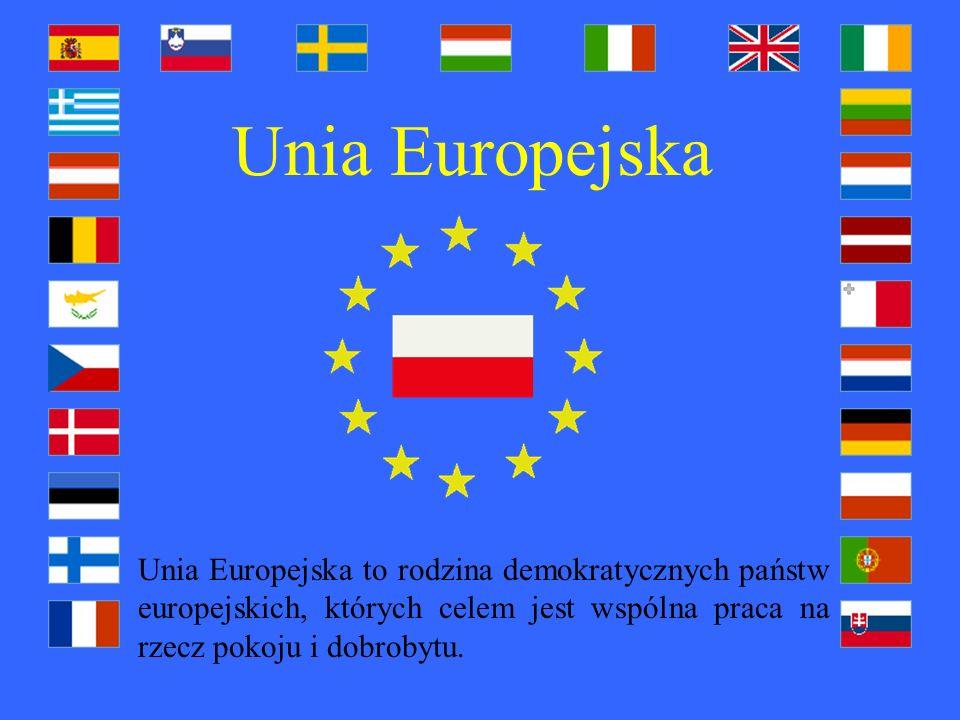 Unia Europejska Unia Europejska to rodzina demokratycznych państw europejskich, których celem jest wspólna praca na rzecz pokoju i dobrobytu.