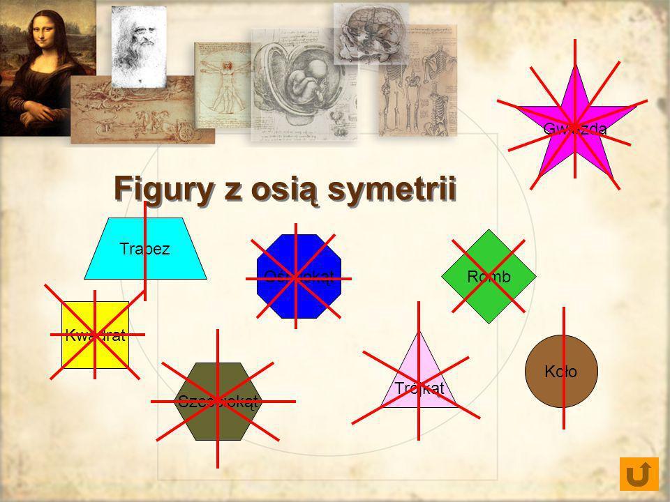 Figury z osią symetrii Gwiazda Trapez Romb Ośmiokąt Kwadrat Koło
