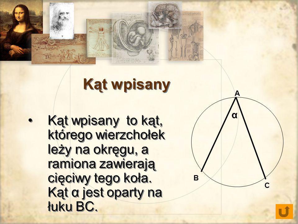 Kąt wpisany A. α. Kąt wpisany to kąt, którego wierzchołek leży na okręgu, a ramiona zawierają cięciwy tego koła. Kąt α jest oparty na łuku BC.