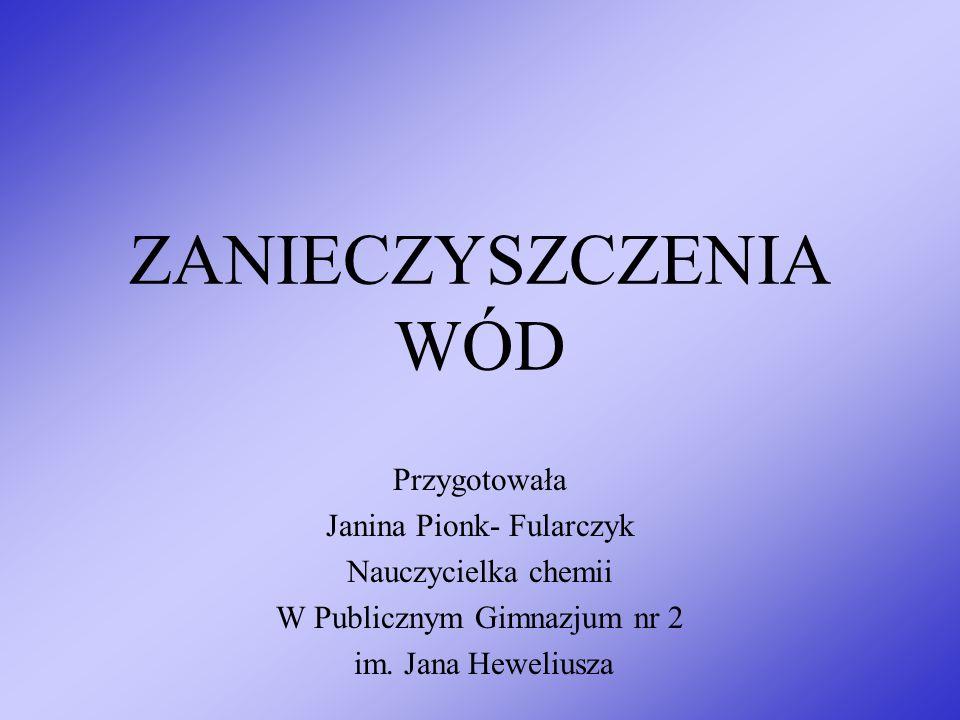 ZANIECZYSZCZENIA WÓD Przygotowała Janina Pionk- Fularczyk