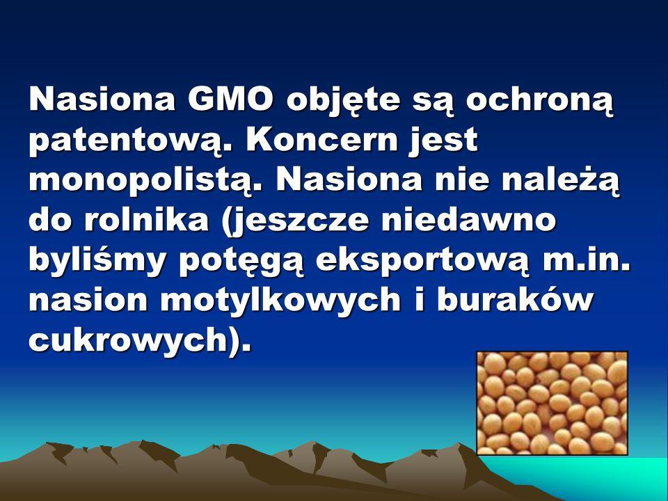 Nasiona GMO objęte są ochroną patentową. Koncern jest monopolistą