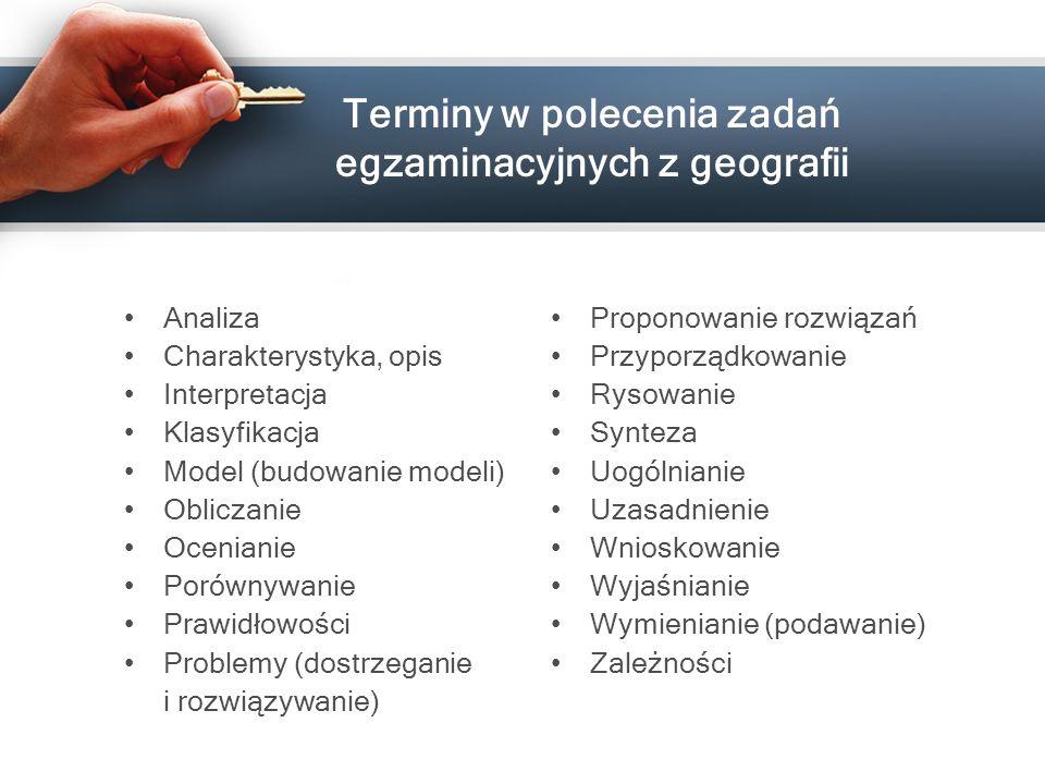 Terminy w polecenia zadań egzaminacyjnych z geografii