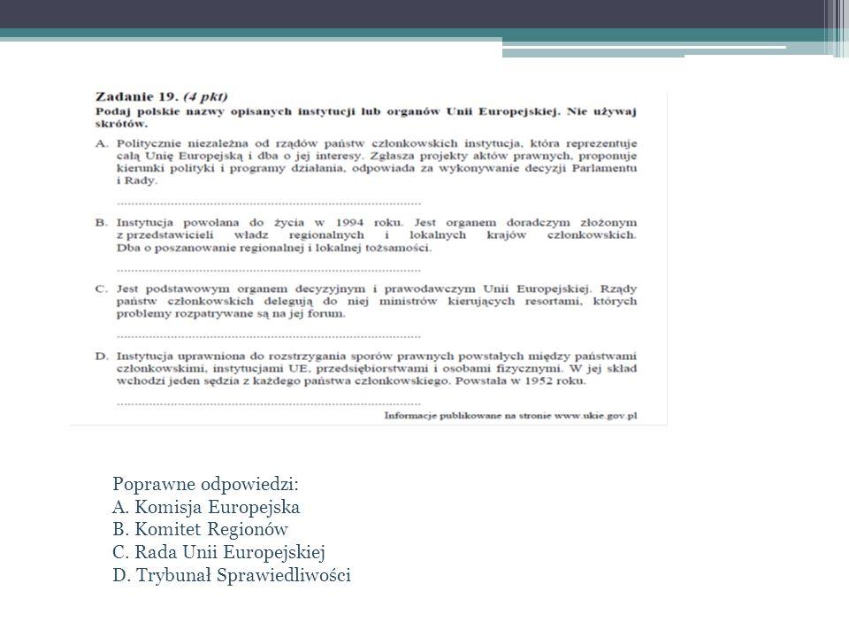 Poprawne odpowiedzi: A. Komisja Europejska. B. Komitet Regionów.