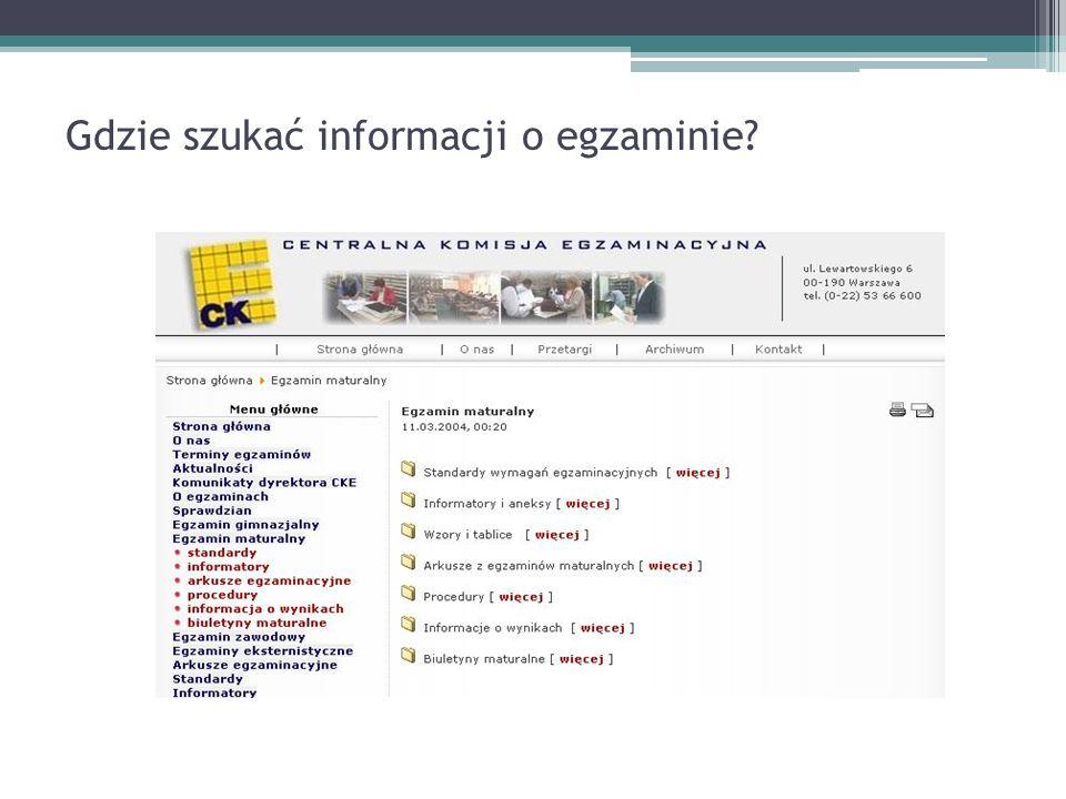 Gdzie szukać informacji o egzaminie