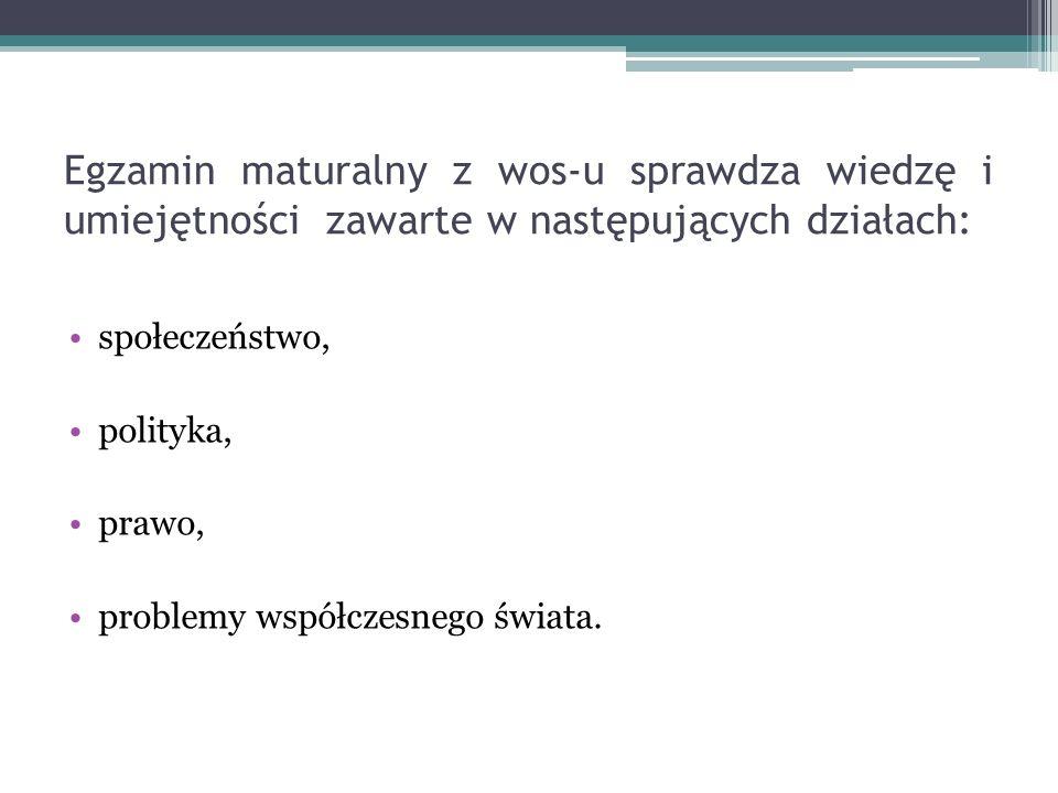 Egzamin maturalny z wos-u sprawdza wiedzę i umiejętności zawarte w następujących działach: