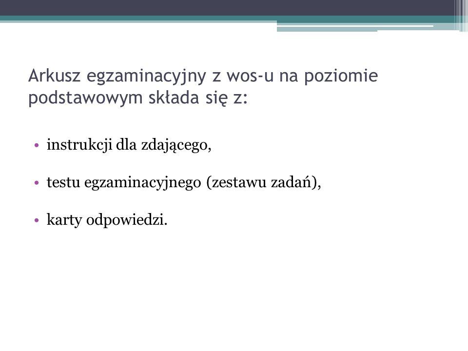 Arkusz egzaminacyjny z wos-u na poziomie podstawowym składa się z:
