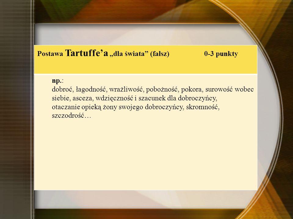 """Postawa Tartuffe'a """"dla świata (fałsz) 0-3 punkty"""