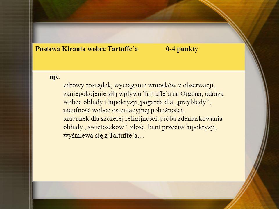 Postawa Kleanta wobec Tartuffe'a 0-4 punkty