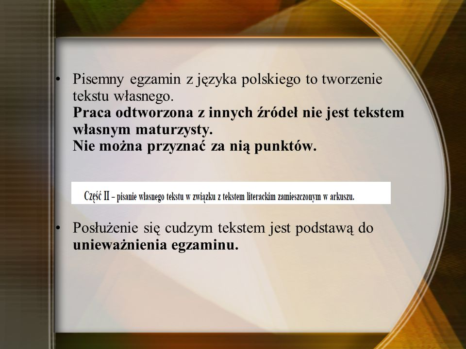 Pisemny egzamin z języka polskiego to tworzenie tekstu własnego